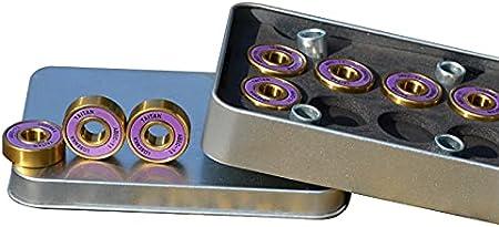Bextreme Rodamientos ABEC 11 Taitan de Alta precisión. Cojinetes de Titanio DE bajo coeficiente fricción para Skateboard, Longboard, Patines, monopatin, patinetas, Scooter, Skate, surfskate, Cruiser