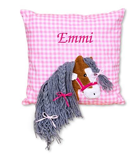 Amilian® Kissen 40 x 40 cm mit Namen Datum Pferdchen