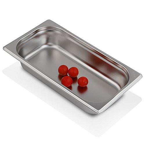 Greyfish GN-Behälter :: ungelocht :: für Gaggenau/Miele/Siemens Dampfgarer (Edelstahl/Spülmaschine geeignet, Gastronorm 1/3, B 32,5 x T 17,6 x H 6,5 cm)
