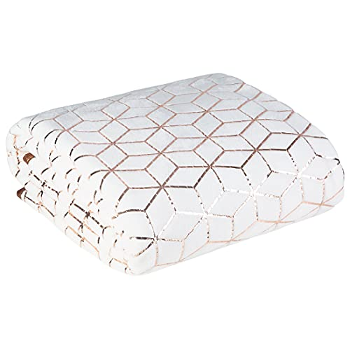 Eurofirany Tagesdecke mit geomterischem Muster OLI Kuscheldecke Wohndecke Weiche Decke 170X210 cm Tagesdecke 200X220 cm Mikrofaser (Weiß + Kupfer, 200 x 220 cm)