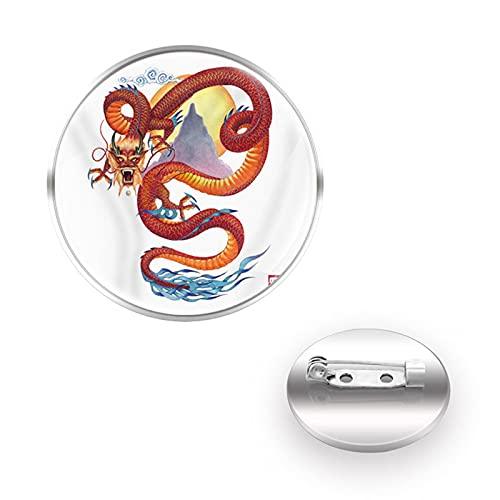 CLEARNICE Pin Animales Dragon Charm Broches Decoración Collar Pin Cúpula Convexa De Cristal Mujeres Hombres Accesorios Regalo