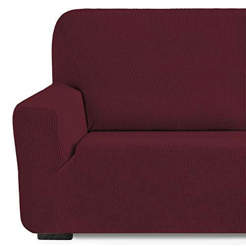 Eiffel Textile Monaco Elastica Adaptable. Funda Sofa Lisa, 94% poliéster 6% Elastano, Rojo, 1 Plaza (70-110 cm)