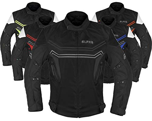 ALPHA CYCLE GEAR MOTORCYCLE ALL SEASON JACKET (BLACK, LARGE)