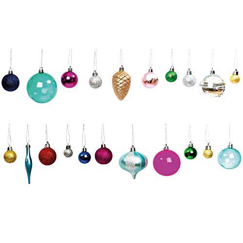 RICO DESIGN GmbH & Co. KG Christbaumkugeln Weihnachtsbaumkugeln Set aus Kunststoff Bunt 25 Stück