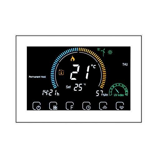 Termostato WiFi de 16 A para calefacción eléctrica(GB!!) Programable/Control App Vocal/LCD retroiluminado Visualización de la humedad y UV, compatible con Alexa Google Home, 95-240 V-GB