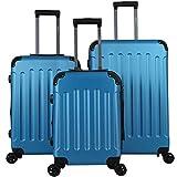 Arebos Premium - Juego de Maletas rígidas con Ruedas | Maletas de Viaje ampliables | Equipaje de Mano de Material ABS con candado TSA y 4 Ruedas | M+L+XL | Color Azul