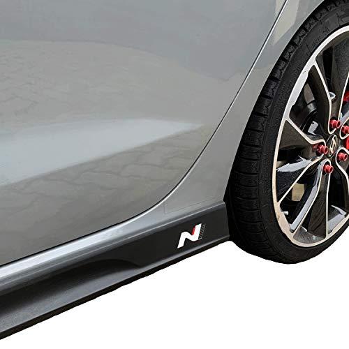 PrintAttack P042 | Emblem N-Performance Seitenschweller 2er-Set Aufkleber Folie | 751 Oracal/3M Carbon | Car Styling | Dekorset (Weiss/Carbon/Rot)