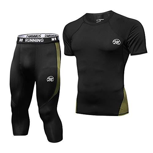 MEETWEE Conjunto Ropa De Compresión Hombre, 3/4 Leggings Manga Corta Camiseta Deportiva Running Pantalones para Fitness Entrenamiento