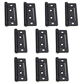 T Tulead Non-Mortise Hinges Chest Hinges Heavy Duty Hinges Box Hinges for Furniture 2 x0.9 ,Black,10PCS with Mounting Screws