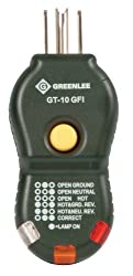 Greenlee GT-10GFI quick and easy GFCI Electric Socket/Circuit Polarity Tester includes trip tester, Black, Small