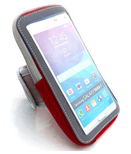 """ADD GEAR Breathable Sports Arm Band, Armband for Jogging, Running, Trekking Armband for iPhone 5, 6, 7, 7plus, Galaxy S5,S4 and All """"3.5 to 5.8"""" Smart Phones (Red)"""
