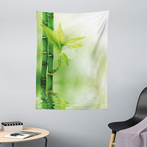 ABAKUHAUS Pflanze Wandteppich & Tagesdecke, Bambus aus Wasser, aus Weiches Mikrofaser Stoff Waschbar mit Klaren Farben, 110 x 150 cm, Smaragdgrün Grün