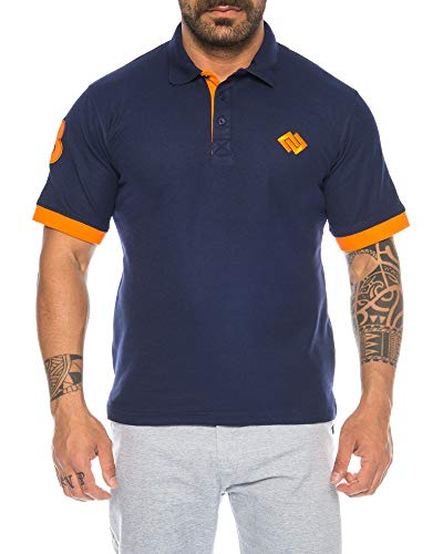 Raff & Taff Herren Polo Shirt Polohemd in zweifarbigem Design 3 Kurzarm Sport Kurzarm Slim Fit Sommer T-Shirt (4XL, Nevi)