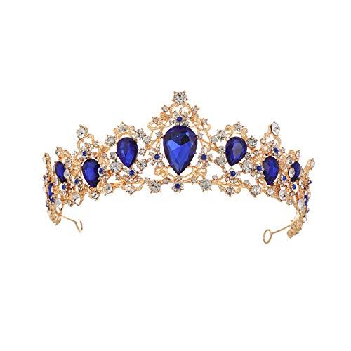 MoGist - Tiara de novia para boda, con piedras brillantes de colores, estilo vintage, color dorado, azul, 17*6 cm