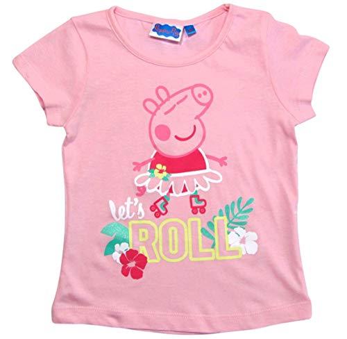 Peppa Wutz T-Shirt Mädchen Kurz Rundhalsausschnitt (Weiß/Rosa, 92-98)