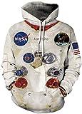 EMILYLE Hombre Sudadera NASA Aire Astronauto Apollo con Capucha Moda Disfraz 2XL,Astronauto