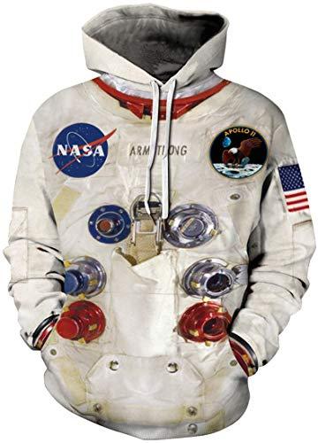 EMILYLE Hombre Sudadera NASA Aire Astronauto Apollo con Capucha Moda Disfraz