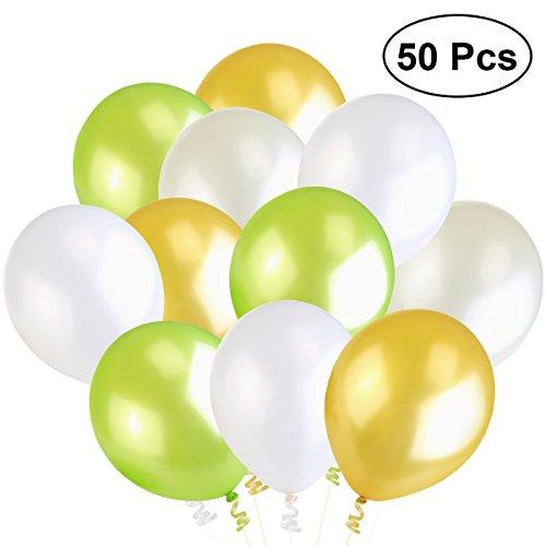 NUOLUX Luftballons Grün Gold Weiß Latexballons, 4 Farben, 50 Stück