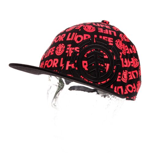 Casquette Flat Cap visière plate ELEMENT Logocover Black red