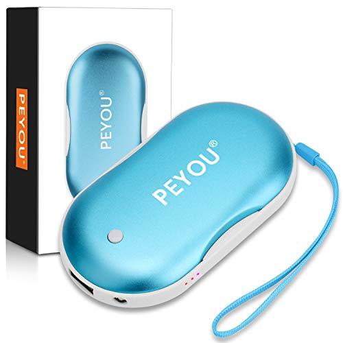 PEYOU Calentador de Manos USB Recargable, 5200mAh Banco de Energía Portátil con Luz LED Función de Iluminación, Calentador de Bolsillo para Mujeres - Regalo para Familia, Amigos