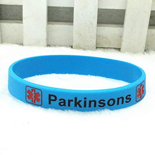 Xlin Pulsera De Mano De Silicona De Alerta Médica De Parkinsons (Color : Blue)