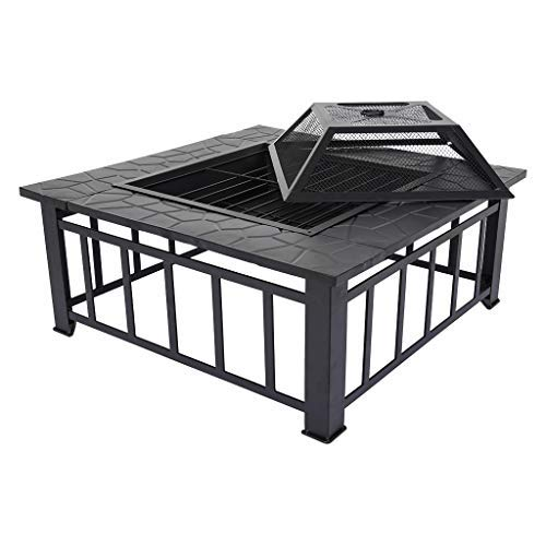 XESRT Outdoor Metal Firepit, Multi-Purpose Square Fireplace with Spark Screen Cover, Garden Stove Wood Burning Fire Pit