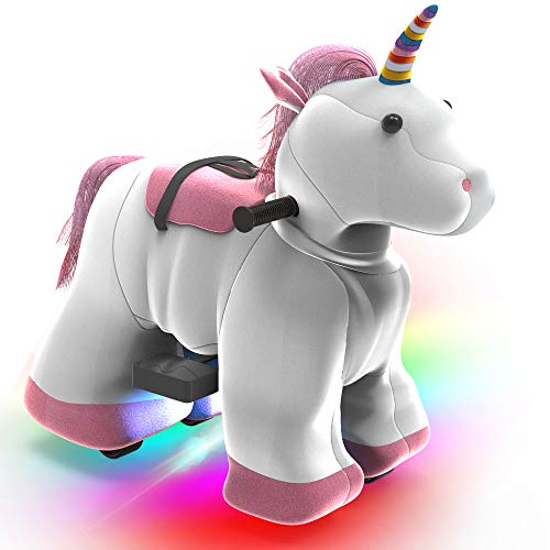 HOVER HEART Rechargeable 6V/7A Plush Animal Ride On Toy with Bottom LED Light for Kids (3~7 Years Old) with Safety Belt (Unicorn)
