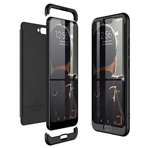 Huawei Honor 10 Hülle Hardcase 3 in 1 Handyhülle 360 Grad Hard Hartschale Grad Full Body Case Cover Schutzhülle Bumper - Schwarz