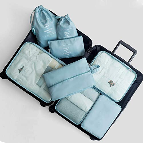 ZZYXiao Travel Storage Bag Kit Clothes Luggage Packing Cube Organizer Suitcase 8PCS(BLUE)