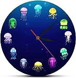 Gran decoración reloj de pared colorido impreso océano medusas medusas reloj de pared guardería acuario decoración mar jaleas decorativas pared reloj marino animales de pared arte fácil de leer para l