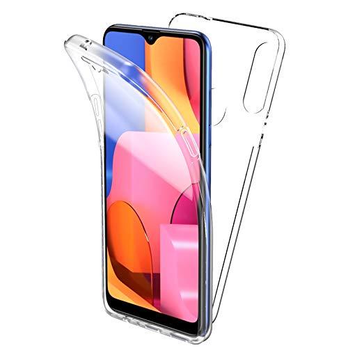 Oududianzi Hülle für Samsung Galaxy A20s, 360 Grad Schutz Entworfen, Transparent Ultra Dünn TPU Silikon Hülle Vorne & PC Zurück Hülle Ursprüngliche Schönheit Doppelte Schutzabdeckung-Transparent