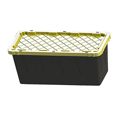 55 GAL STORAGE TOTE BOX Heavy Duty Garage Plastic Container Organizer With Lid