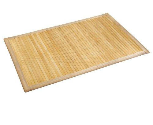 WENKO 17996100 Tapis de bain Bambou Couleur Naturelle - face inférieure antidérapante, Bambou, Marron