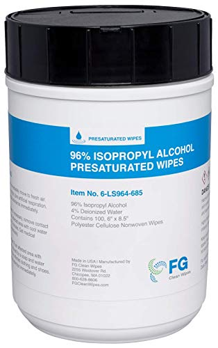 FG Clean Wipes 96% Alcohol Wipes- Large 6' x 8.5' in Canister of 100 Wipes - 6-LS964-685