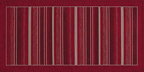 HomeLife Tappeto Cucina Antiscivolo 55X110 Made in Italy | Passatoia Moderna Colorata Effetto Rigato | Tappeto Runner Lungo Lavabile [55X110, Rosso]