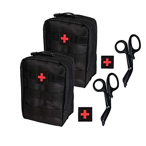 Krisvie 2Pcs Botiquín Médico Táctico EMT Botiquín de Primeros Auxilios, Botiquín Médico de Emergencia para la Familia, Camping al Aire Libre, Caza, Viajes o Deportes