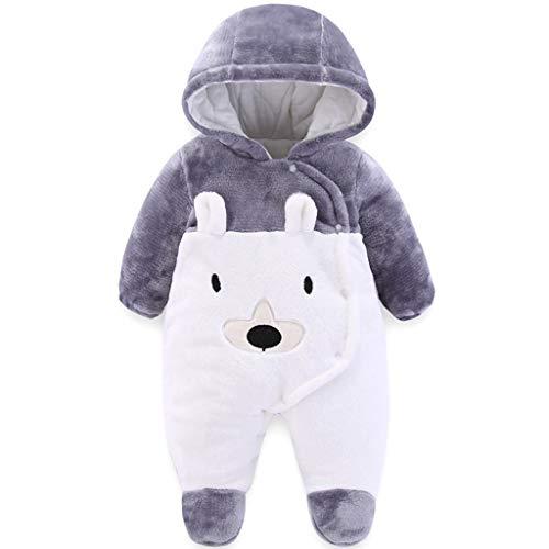 Baby Overall Winter Strampler Neugeborene Jungen Mädchen Spielanzug Warmer Schlafanzug Fleece Schneeanzug Babykleidung, 0-3 Monate