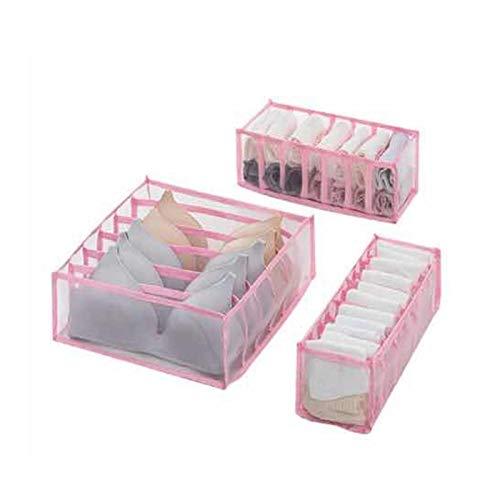 WOKAO Organizador de ropa interior para armario, divisor de cajones, organizador de ropa interior, organizador de cajones, 3 juegos para ordenar la ropa interior, ropa interior, calcetines, color rosa