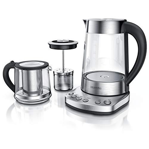 Arendo - Hervidor de agua de vidrio con ajuste de temperatura y colador para infusiones y té turco - 1,7 Litros - 2400 W - Acero inoxidable - Vidrio borosilicato - Libre de BPA - Apagado automático