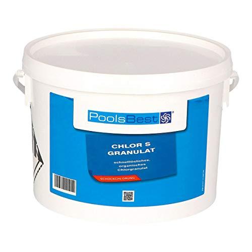 POOLSBEST® 3 kg Chlorgranulat S schnelllöslich 56% Aktivchlor wirksames Granulat - Chlor wirkt schnell gegen Bakterien, Pilze und Viren