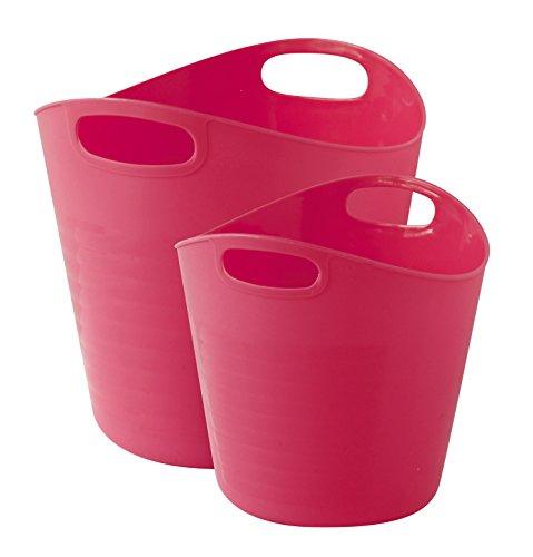 GELCO Design Cooper Set 2 Paniers de Rangement, Plastique, Pink, 19,5 x 18 x 18 cm