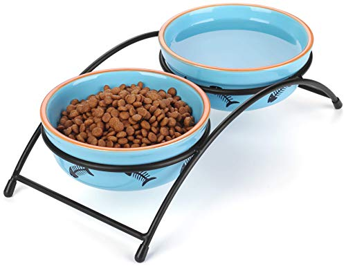 Y YHY Cat Food Dishes, Raised Cat Bowls Ceramic, Elevated Cat Bowls for Food and Water, Pet Bowls for Cats and Dogs, Anti Vomiting, Whisker Fatigue, Dishwasher Safe, 12 Ounces