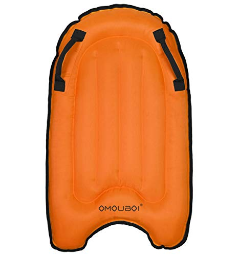 OMOUBOI Inflatable Bodyboard Pool Float Swim Air Bed (Orange)