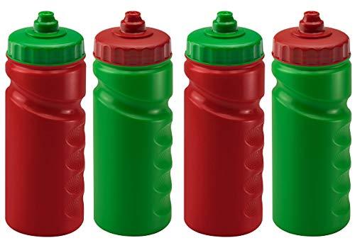4 x 500 ml - Botellas de agua - BPA FREE - Manos LID FRATE - PISTA NO DUCHO AUMBIERTE - PUERTOS DE DEJEO ERGONÓMICO - Lavavajillas Caja fuerte - En blanco para la marca DIY y decoración (rojo azul)