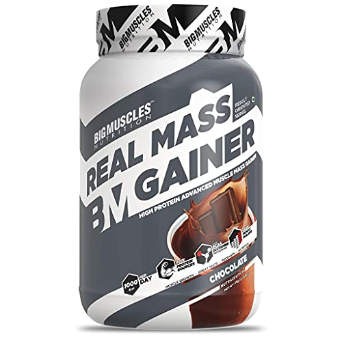 Bigmuscles Nutrition Real Mass Gainer [1Kg, Chocolate] | Lean Whey Protein Muscle Mass Gainer, Complex Carbohydrates, 1000 Calories