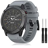 TOPsic Armband Fenix 6X /Fenix 6X Pro/Fenix 5X /Fenix 5X Plus/Fenix 3 /Fenix 3 HR, 26mm Breite Silikon Estrazarmband Quick Release Uhrenbänder Easy Fit Zubehör Uhrenarmband