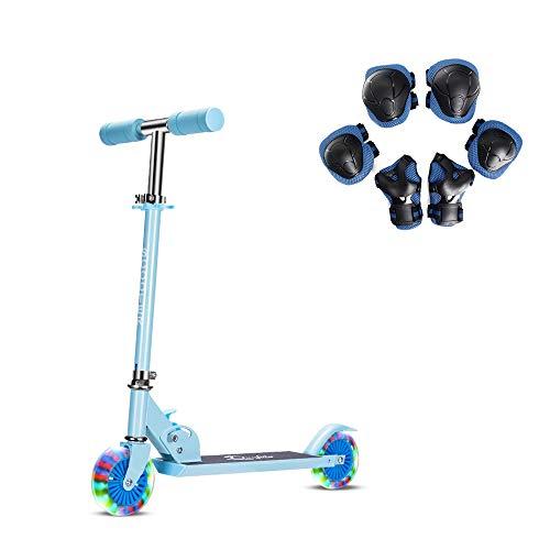 キックスクーター子供用 2輪キックボード LED 光るホイール ブレーキ付き 3階段調節可能 折り畳み式 持ち運...