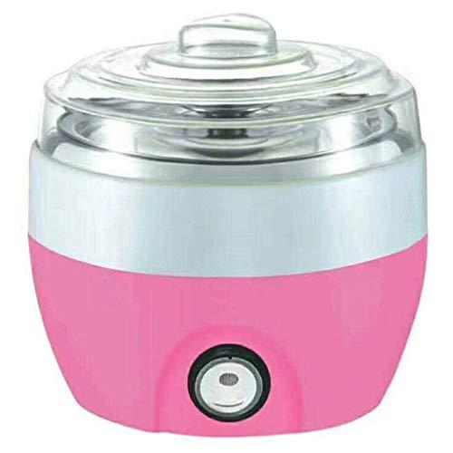 YILIAN Yogur de la máquina, 1L Hogar eléctrico automático de Bricolaje Yogur Fabricante de Acero Inoxidable con Recipiente Interior - de 2 a 3 Personas (Color : Pink)