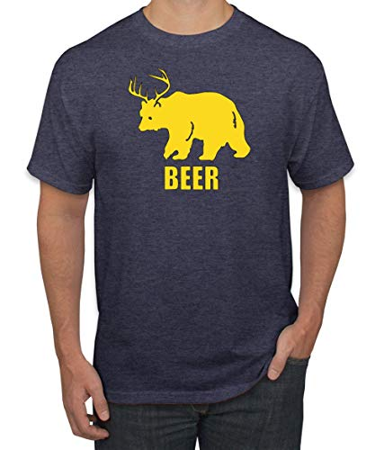 Wild Bobby Beer | Bear Deer Funny Party Pun | Mens Drinking Graphic T-Shirt, Vintage Heather Navy, X-Large