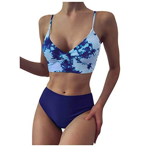 Briskorry Set bikini da donna a vita alta, bikini, bikini, bikini, sexy, solide, da donna, bikini, set da bagno a due pezzi, Donna, Blu, L